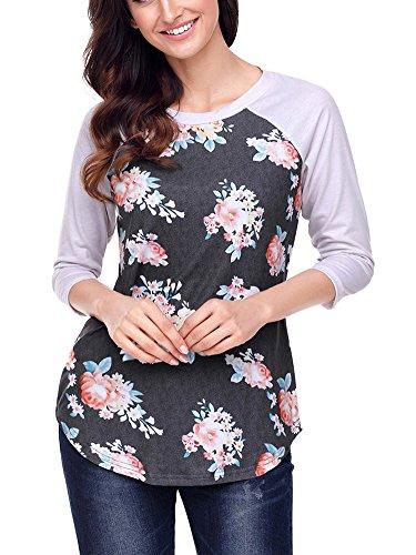 Minetom Donna Collo Rotondo Manica A 3/4 Stampa Maglietta Autunno Eleganti Maglia Blusa Camicetta Camicia Pullover Casuale T-shirt Tops A Grigio