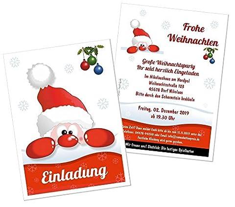 20 Karten Weihnachten einläuten Einladung Disko Kneipe Stammtisch Weihnachtsfeier, Weihnachtsmarkt - eigener Text wird eingedruckt, 170 x 120 mm