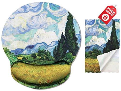 Van Gogh Weizenfeld mit Zypressen Ergonomisches Design Mauspad mit Handballenauflage Hand Support. Runder großer Mausbereich. Passende Mikrofaser Reinigungstuch für Brillen und Bildschirme. Großartig für Gaming & Arbeit