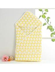 saco de dormir del bebé NWYJRPies calientes de algodón bebé saco suave acogedor Anti kick servilletas lecho Pack de envolver Swaddle conveniente para los recién nacidos 90CM , yellow
