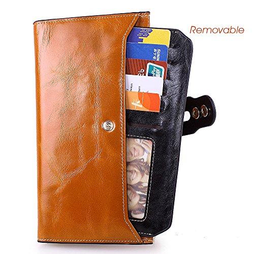 GRANDE VENDITA - 40% OFF - Artemis'Iris donne Multi Card Slot di lusso autentico frizione portafoglio borsa Cards Holder Denaro borsa lunga, nero blue