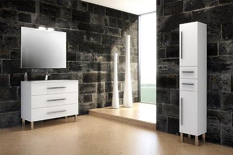 Mennza - Meuble de salle de bain MADRID blanc brillant 100 cm