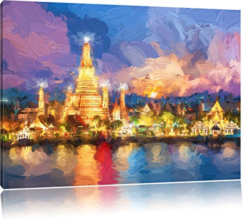 wat-arun-temple-night-view-bangkok-thailande-art-effet-brush-format-80x60-sur-toile-xxl-enormes-phot