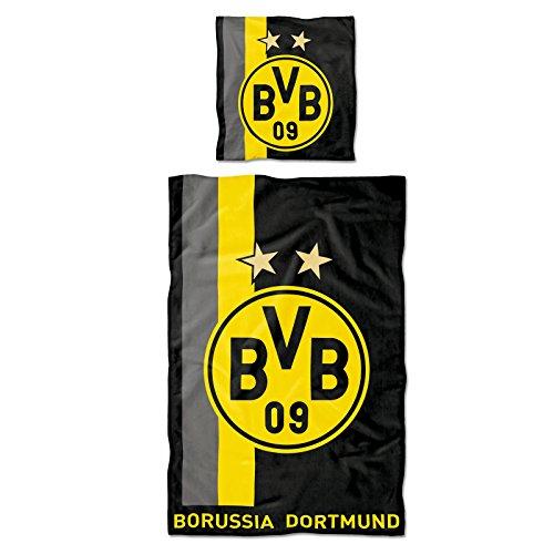 BVB 09 - Borussia Dortmund Herren 09-Fanartikel-BVB Bettwäsche mit Streifenmuster, 135 x 200 cm, one Size, Gelb, Bettwäsche 9