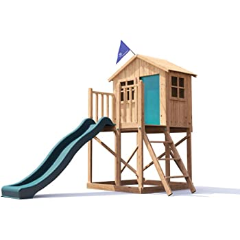 Playhouse Wave Slide Club House Pressure Treated Kids Wooden Play ...