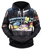 Ocean Plus Herren Casual Kapuzenpullover Aufdruck Pulli Motiv Hoodie Tierdruck Sweatshirt Streetwear Pullover mit Kapuzen Herrenhemd (3XL (Brustumfang: 127CM), Ninja Turtles)