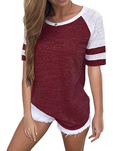 rm Baseball T-Shirts Gestreifter Colorblock(EU36,Weinrot) ()