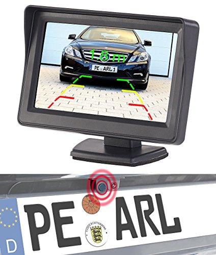 Lescars Rückfahrwarner: Farb-Rückfahrkamera und Einparkhilfe mit 10,9-cm-TFT-Rückfahrmonitor (Rückfahrkameras mit Monitoren) Pixel-10 Einheiten