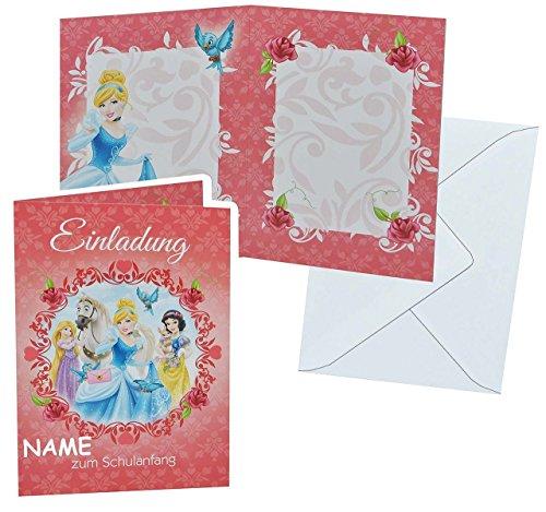 Schulanfang - Disney Prinzessin mit Umschlag - incl. NAME - Karte Karten für Mädchen Schuleinführung Schulstart Rapunzel Schneewittchen Einladung (Namen Von Disney Prinzessinnen)