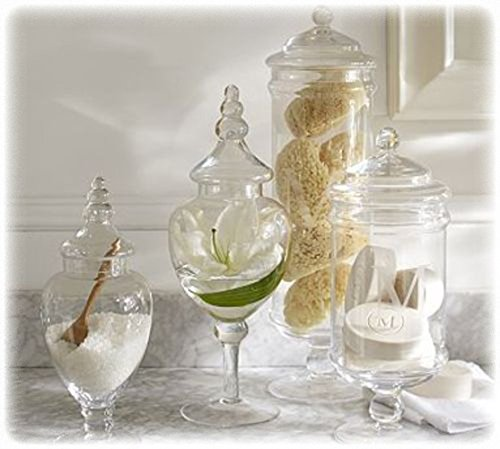 (Set Of 4) Classic Clear Glass Lid Apothecary Jars / Candy Buffet / Wedding Centerpiece - Mygift Home