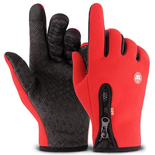 RTGFS Outdoor Handschuhe Touchscreen Winddicht Reiten Allfinger-Reißverschluss Sport Winter Warm Plus Samt Bergsteigen Skifahren Code New Zipper Red Code Red Zipper