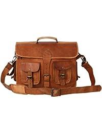 """Handcraft's """"Scott"""" Vintage Handmade Designer Genuine Leather Front Pocket Brown Briefcase Laptop Bag Office Bag"""