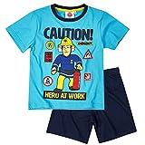 Feuerwehrmann Sam - Kinder Shorty Pyjama - Schlafanzug Kurz Gr. 98-128, Größe:104, Farbe:Blau