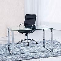 Mesa de estudio benetto XL , cristal transparente y cromado, medidas 120 cm x 60 x 75 de altura