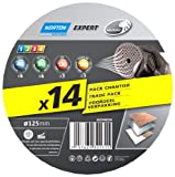Norton Lot de 14 Disques expert 125 x 18 mm multi-air Grains assortis