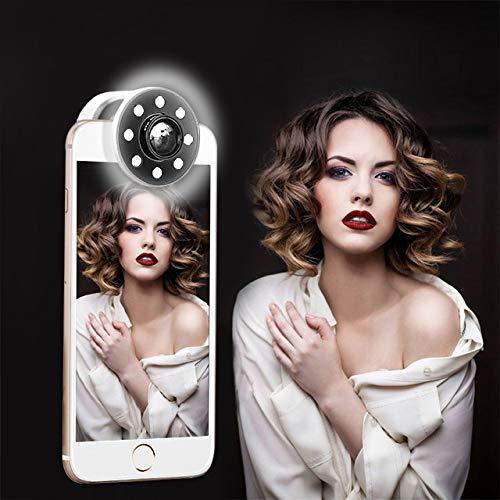 TOPTETN Selfie Ring Light - Selfie Anneau Lumière Rechargeable avec Objectif 0.65X Grand Angle 8 LED 4 Niveau Selfie Lampe pour Smartphone Portable et Tablette iPhoneX/8plus/7plus/6/6S/iPad//Andriod