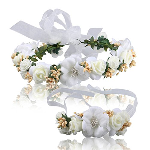 Simsly Wedding Rose Floral Wreath Crown Headband Flower Accessories for Brides and Bridesmaids (White) FS-046