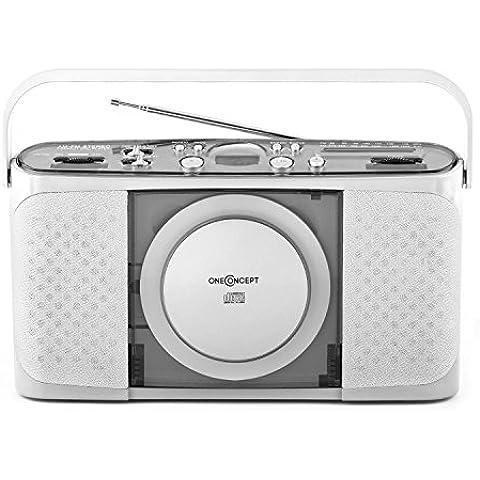 oneConcept Boomtown-Garden lettore CD radio portatile (MP3, porta USB, sintonizzatore radio AM/FM, possibilità di funzionamento a batterie) - grigio