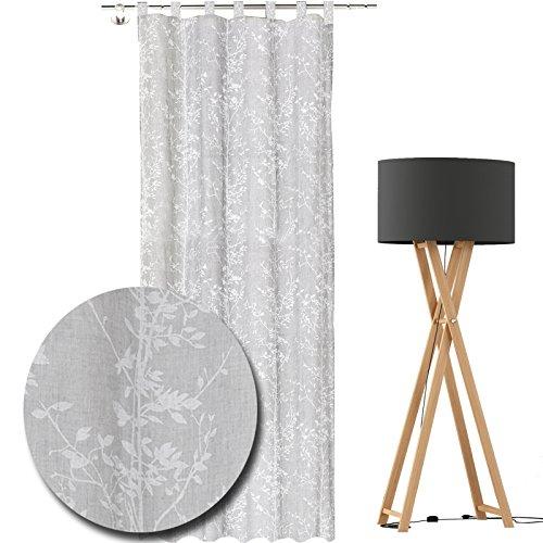 JEMIDI Schlaufenschal mit Ästen Schlaufen Schal mit Gardinenband 140cm x 245cm gardine Vorhang Store Fenstergardine Dekoschal Weiß