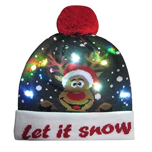 LANSKIRT Weihnachten Stilvolle Unisex Männer Frauen LED Leuchten Beanie Hut Mütze Strickmütze für Indoor und Outdoor, Skifahren, Snowboard, Wandern, Freizeit, Spielwatch, Urlaub, Partys, Feier (E) -