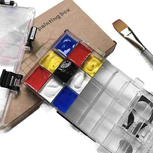 Paints Palette Box - 24 versiegelte Farben Behälter für Aquarellhalbe Pfannen, Acryl, Gouache, Depotting Lippenstifte - Reisebox (Versiegelt Palette)
