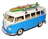 Welly Volkwagen T1 Blau Weiss mit Surfbrett Samba Bully Bus 1950-1967 1/24 Modell Auto mit individiuellem Wunschkennzeichen