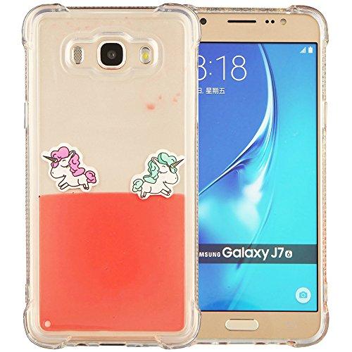 Samsung Galaxy J7 2016 Hülle,Schutzhülle für Samsung Galaxy J7 2016 Handyhülle Roreikes Luxus Transparent TPU Silikon Zurück Case Cover Dynamisch Treibsand Fließen Schwimmend Telefonkasten Abdeckung Muster Design - Rainbow Horse(5,5Zoll)