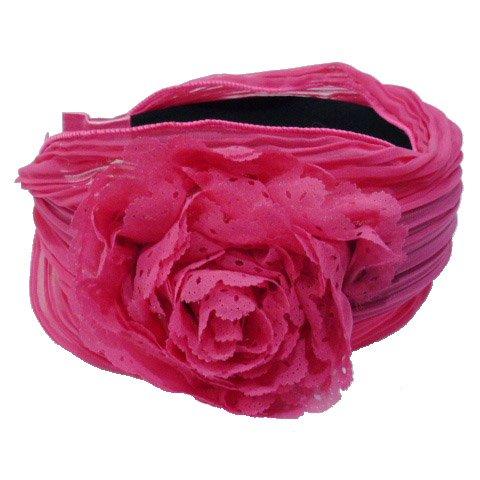 rougecaramel - Serre tête/headband/ large plissé façon bandeau - fuchsia