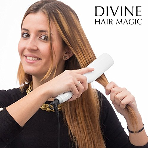 Divine Hair Magic Cepillo Alisador de Pelo Eléctrico, Color Gris - 350...