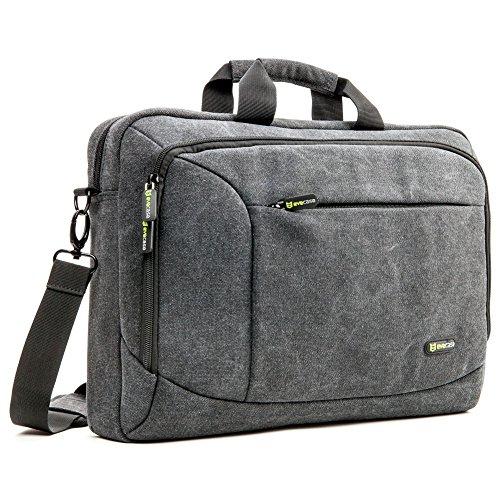 """Laptop Borsa Messaggero, Evecase 15.6 pollici Custodia di Tela per Computer, Notebook, PC, Computer Portatile Modelli Popolari fino a 15.6"""" - Nero"""