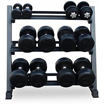 Soporte de almacenamiento para mancuernas de acero de 3 niveles para gimnasio