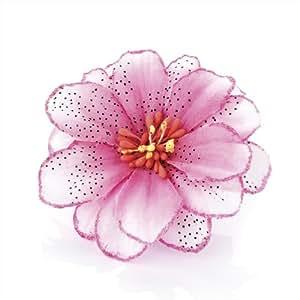 Pink Tone Glitter Edge Boho Flower Hair Beak Clip
