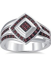 Silvernshine 1.35Ctw Round Cut Red Garnet Simuleted Diamonds 14K White Gold Plated Engagement Ring