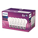 Philips LED B22 Bayonet Cap Light Bulbs, Frosted, 11 W (75 W) - Warm White, Pack of 6