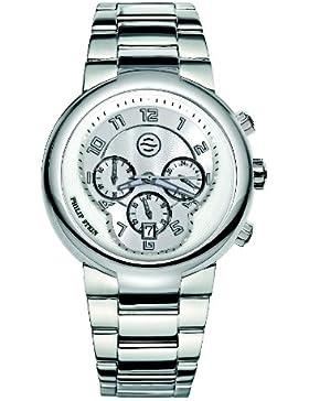 Philip Stein–32-aw-ss–Armbanduhr–Quarz Analog–Weißes Ziffernblatt–Armband Stahl Silber