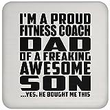 Designsify Dad Untersetzer, I 'm A Proud Fitness Coach Dad of a saucool Sohn, ER kaufte Mir Das–Untersetzer, Untersetzer, Beste Geschenk für Vater Dad Daddy von Son Kid