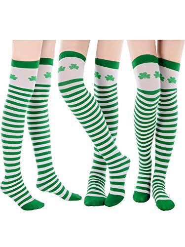 Kostüm Patrick Kind St - Blulu 3 Paar St. Patrick's Tag Socken Grün Shamrock Gestreift Kniestrümpfe Irisches Kostüm Socken für Damen Mädchen Party Favor (Stil Set 1)