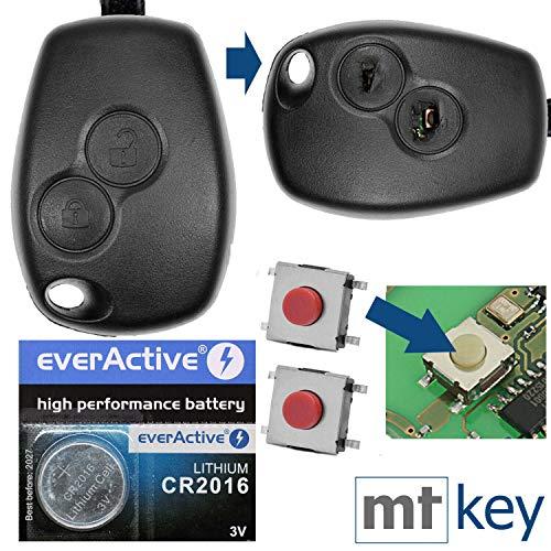 Auto Schlüssel Funk Fernbedienung 1x Gehäuse 2 Tasten + 2X Mikrotaster + 1x CR2016 Batterie für Renault/Dacia/Opel