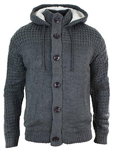 Gilet pull homme tricot épais chaud hiver capuche boutons bleu marine gris Gris