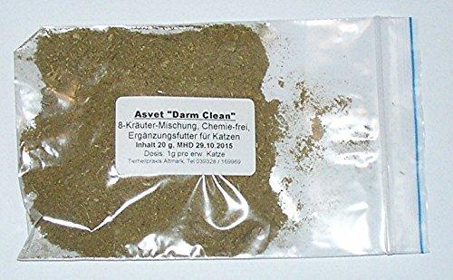 20g Asvet Darm Clean, 8-Kräuter-Mischung für bis 40 Katzen zur EINMALGABE, keine chem. Wurmkur, kein Gift