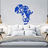 ganlanshu Art Design Maison Décoration Africain Tigre Sticker Mural Vinyle Imperméable Maison Décoration Animal Applique Salon Chambre 58cmx63cm