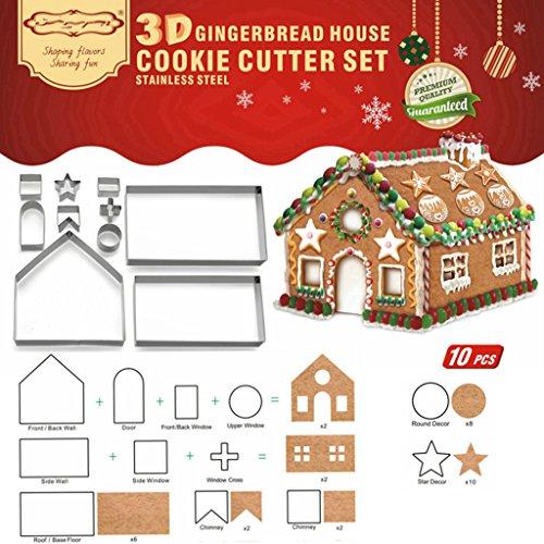 LQZ 10stk/set 3D Ausstechform Lebkuchenhaus Ausstecher Ausstechformen Keksausstecher Edelstahl Backen Fondant Cookie Kekse für Weihnachten * eine Wohnung in Landkreis Offenbach als Modell