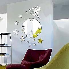 Idea Regalo - WALPLUS - Specchio Tondo Adesivo da Parete, Motivo: Campanellino e Stelle, Colore Argento