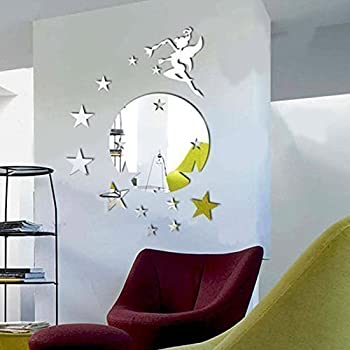 Walplus Mirror Wall Art Flying Fairy Tinker Bell With Stars Round Wall  Stickers Removable Self