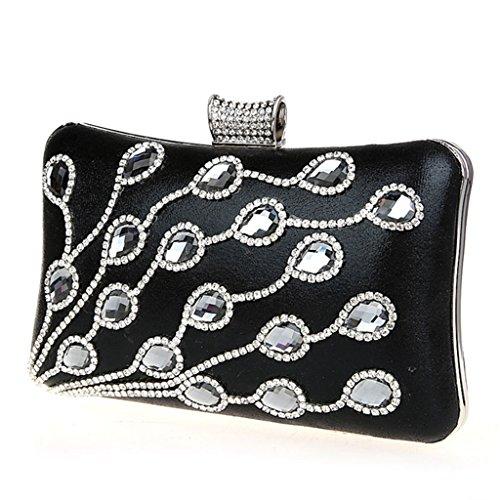 La borsa da sera pochette banchetto sposa sacchetto della damigella d'onore femminile del sacchetto sacchetto del vestito nuovo sacchetto di diamante della moda borsa a mano ( Colore : Nero ) Nero