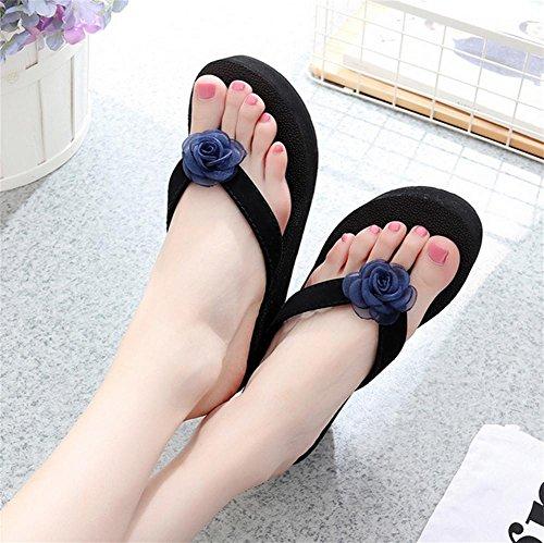 Dickere Sohlen Strand Sandalen Hausschuhe mit Flip Flops Mode Blumen Damen cool Pantoffeln 1