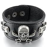 MunkiMix Aleación Genuina Cuero Pulsera Brazalete Brazalete Manguito El Tono De Plata Negro Marrón Pirata Cráneo Calavera Ajustable Hombre