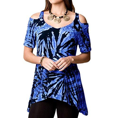 URIBAKY Bluse Shirt Frauen Trägerlos Sommer Tops Oberteile Crop Tops Schulterfrei Unregelmäßige Lässige Tie Dyeing Print Plus Size