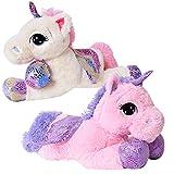 TE-Trend Plüschpferd Einhorn Unicorn liegend 60cm pink oder weiß mit