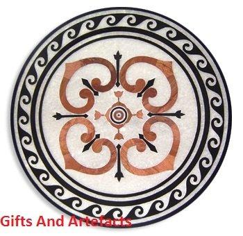 Gifts And Artefacts 61 cm Forme Ronde Marbre Blanc Canapé Centre Dessus de Table Incrustation Design Unique